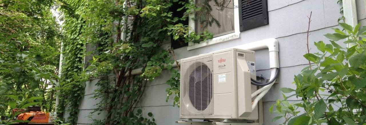 heat pump on side of house in maine